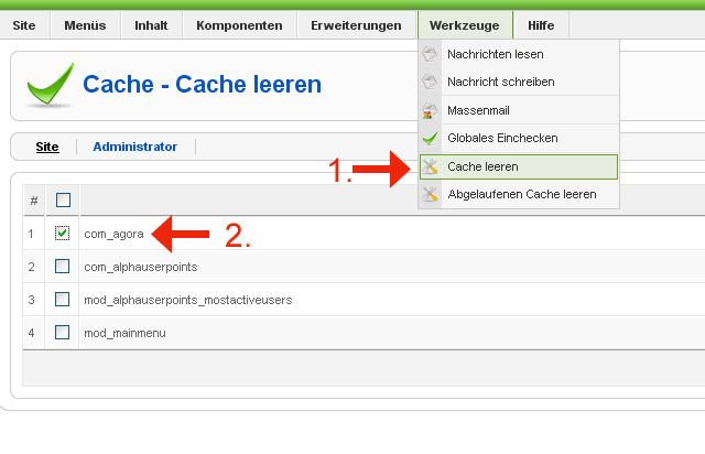 Bild1: AAgora-Cache leeren im Joomla Backend damit die neuen Sprachdateien ausgelesen und ausgegeben werden