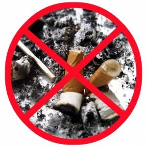 Ausgedrückte Zigarette in grauslicher Asche mit rotem Kreuz durchgestrichen