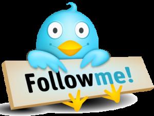 Twitter-Vogel mit dem Schild: Follow Me