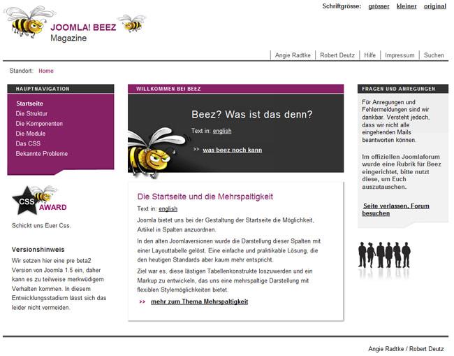 Joomla Beez-Tempalte Screenshot