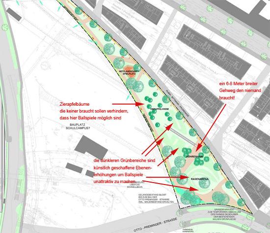 Leon Zelman Park in Wien: auf die bedürfnisse der Anrainer wird keine Rücksicht genommen