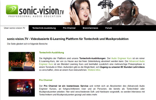 Screenshot vom Audiotechnik-Portal sonic-vision.tv